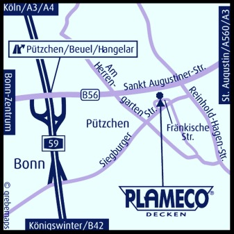 Plameco Spanndecken Fachbetrieb Bonn Anfahrtskizze